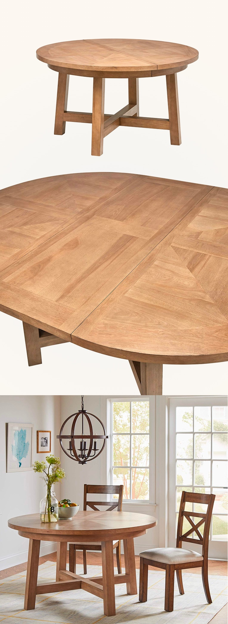 Farmhouse-Style-Round-To-Oval-Dining-Table-Light-Wood-Stain-Modern-Furniture