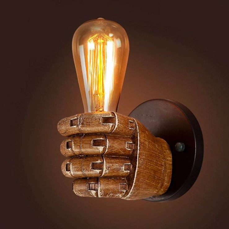 Idustrial-Style-Hand-Shaped-Lamp-Knight-Holding-Light-Wall-Sconce