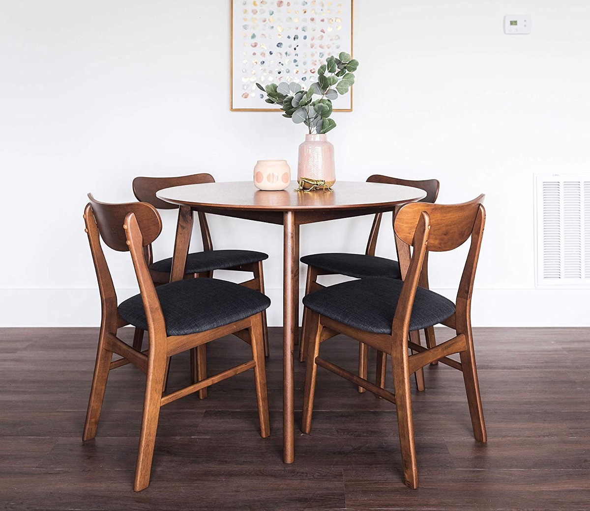 Mid-Century-Modern-Style-Round-Dining-Table-Set-With-4-Matching-Chairs-Upholsted-Seats-Grey