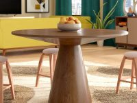Mid-Century-Modern-Style-Wooden-Round-Dining-Table-Light-Walnut-Finish
