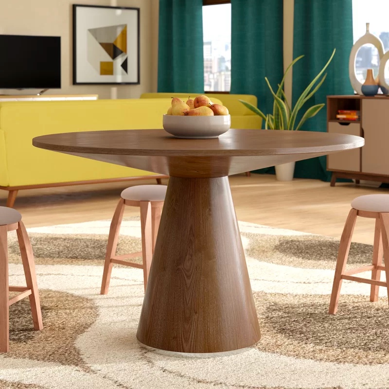 Mid-Century-Modern-Style-Wooden-Round-Dining-Table-Light-Walnut-Finish