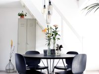 Modern-Round-Black-Dining-Table-With-Sculptural-Steel-Base-Simple-Modern