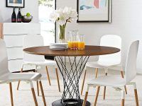 Modern-Sculptural-Round-Dining-Table-With-Walnut-Top-And-Black-Twisted-Base-1