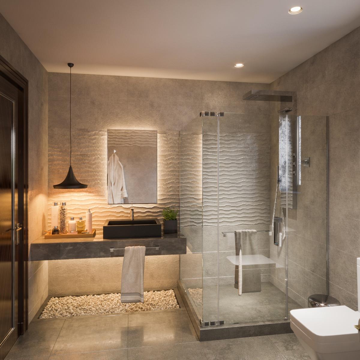 Modern-bathroom-pebble-floor