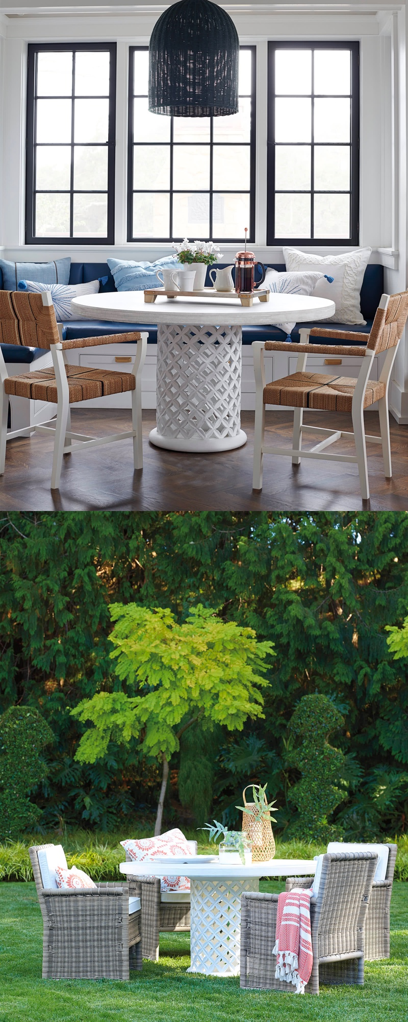 Patterned-Base-Round-White-Dining-Table-For-Indoor-And-Outdoor-Use