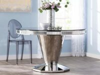 Round-Chrome-Dining-Table-Faceted-side-And-Black-Tempered-Glass-Top-Modern-Shiny