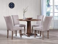 Round-Dining-Table-Set-With-Matching-Upholstered-Chair-Included-Dark-Wood-Grey-Seats