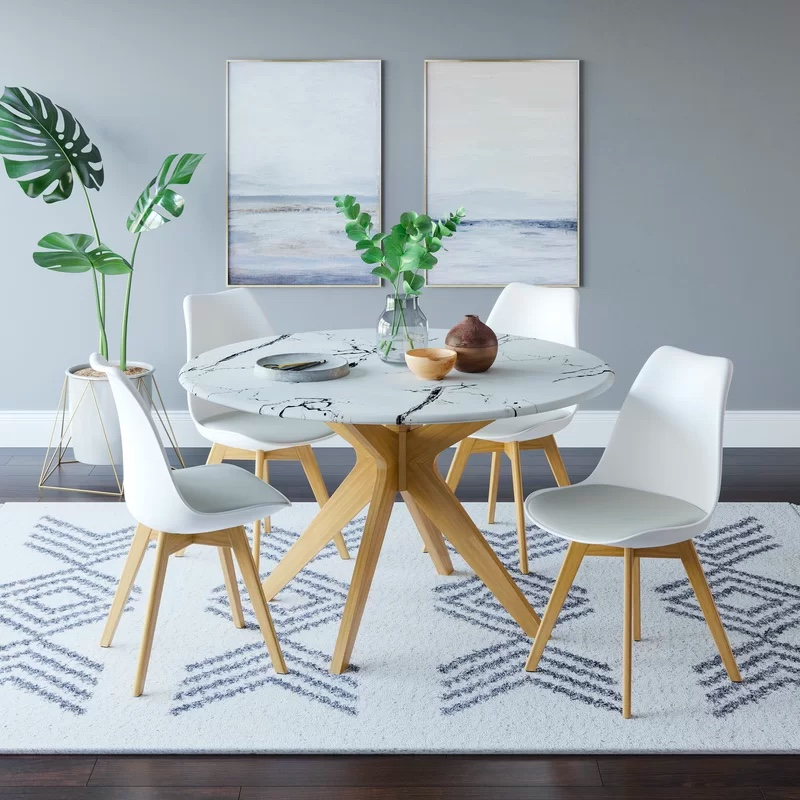 Round-Dining-Table-With-Faux-Marble-Top-And-Wooden-Legs-White-And-Black