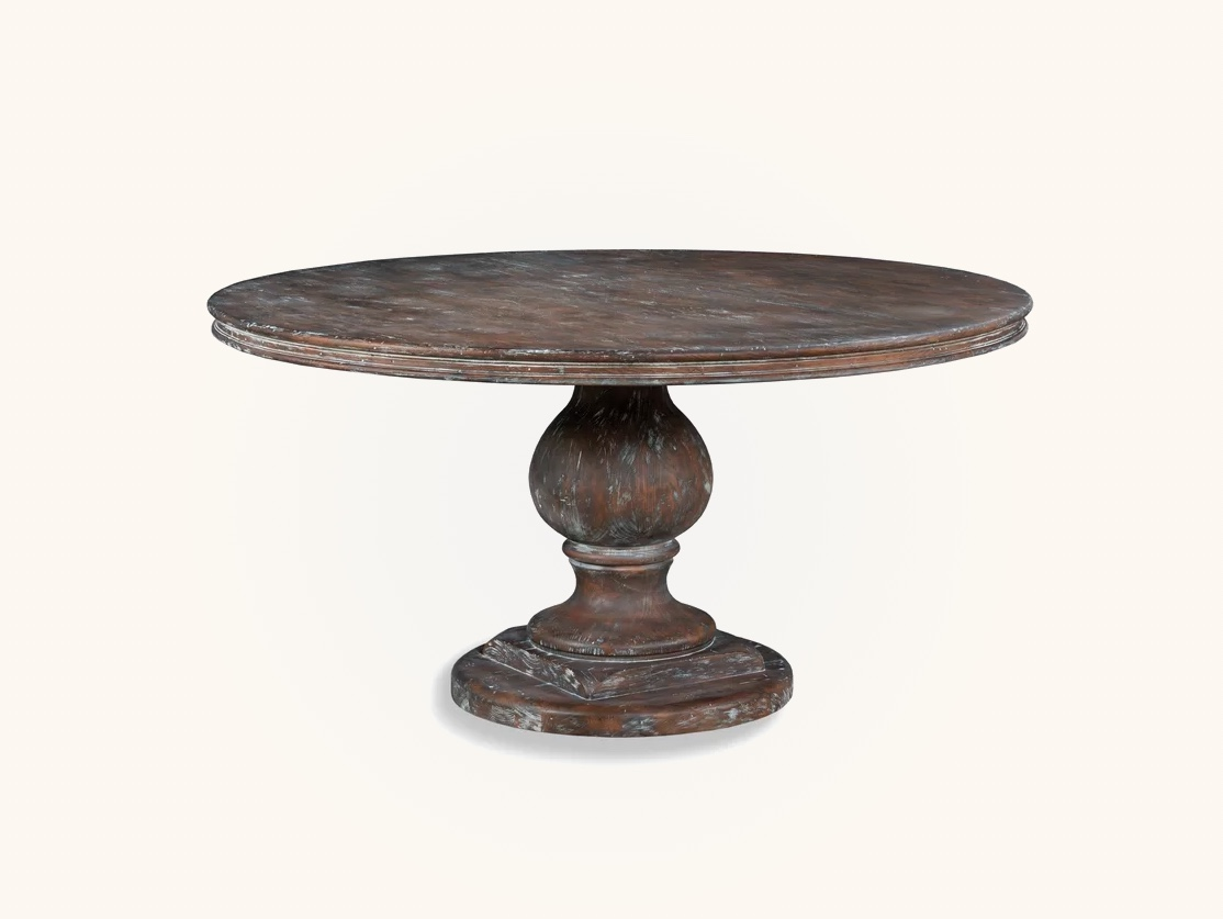 Round-Distressed-Wood-Dining-Table-Shabby-Chic-Furniture-Luxury