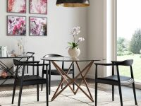 Round-Glass-Dining-Table-With-Sculptural-Star-Base-Walnut-Wood-color