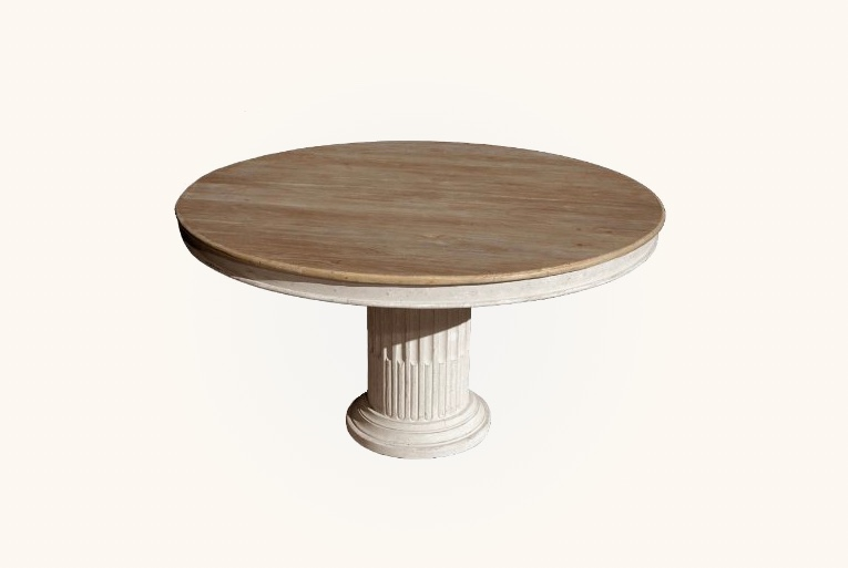 Round-Oak-Top-Dining-Table-With-Roman-Column-Style-Base
