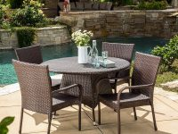 Round-Wicker-Outdoor-Dining-Set-Table-And-4-Chairs-Weather-Proof