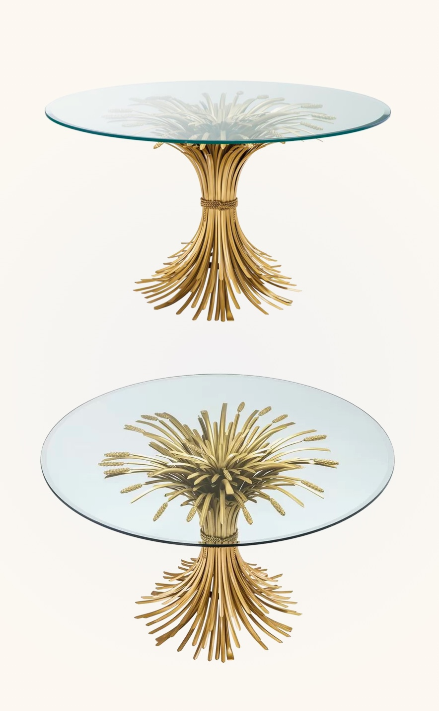 Sheaf-Wheat-Dining-Table-Glass-Top-With-Gold-Scultural-Base-Art-Furniture