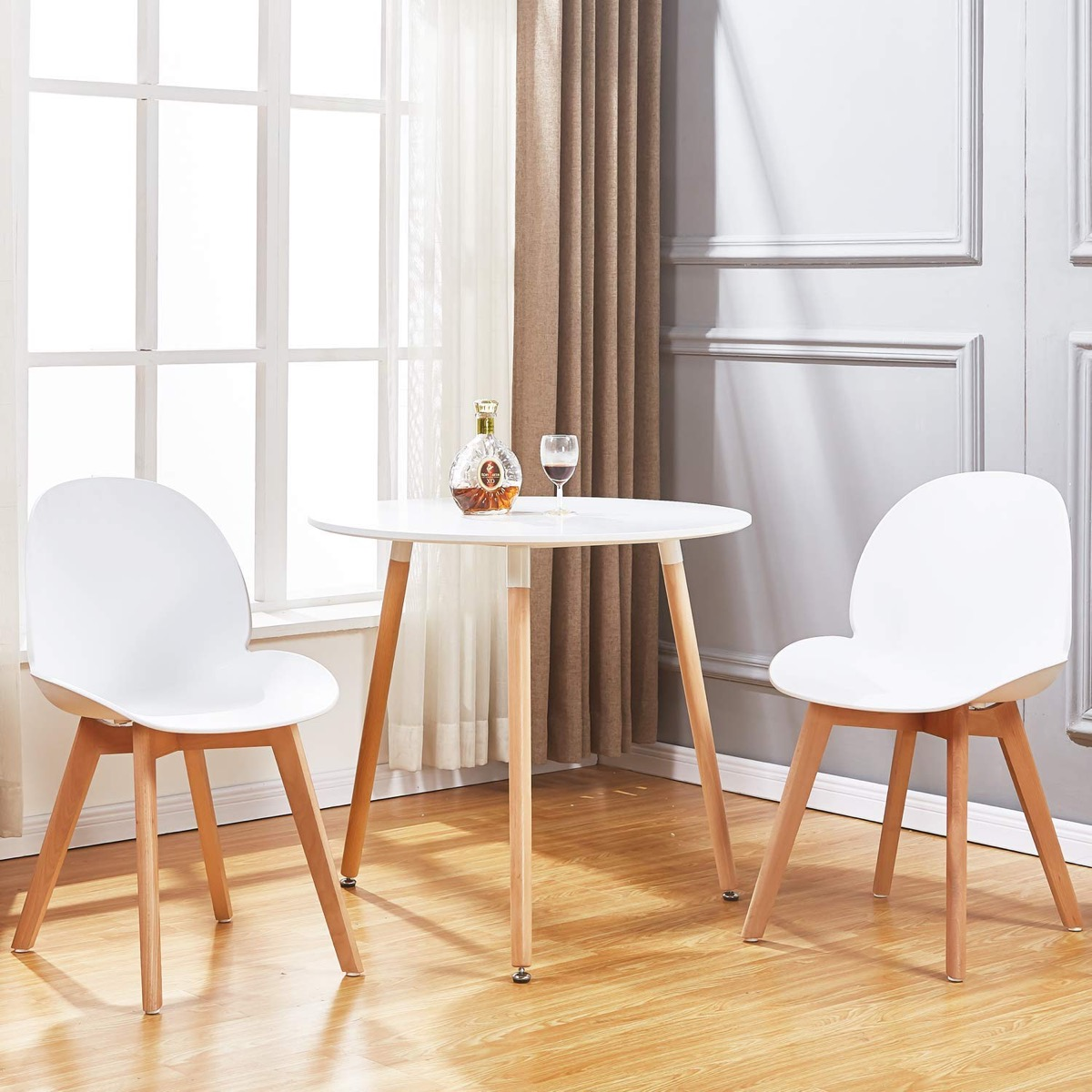 Small-Round-Dining-Table-For-2-With-White-Glossy-Top-And-Wood-Legs