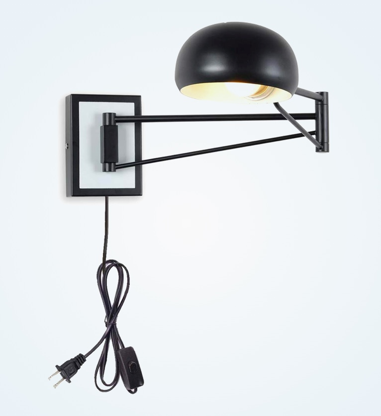 Wall-Mounted-Plug-In-Reading-Light-With-Round-Black-Metal-Shade-Adjustable-Swivel-Arm