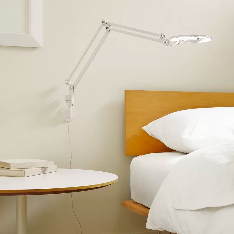 Wall-Mounted-Swing-Arm-LED-Light-Flat-Round-Head-Metal-Plug-In-Contemporary