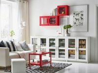 A White Living Room With A Two-Seat Sofa And A Low Storage for Living Room Storage Cabinet With Doors