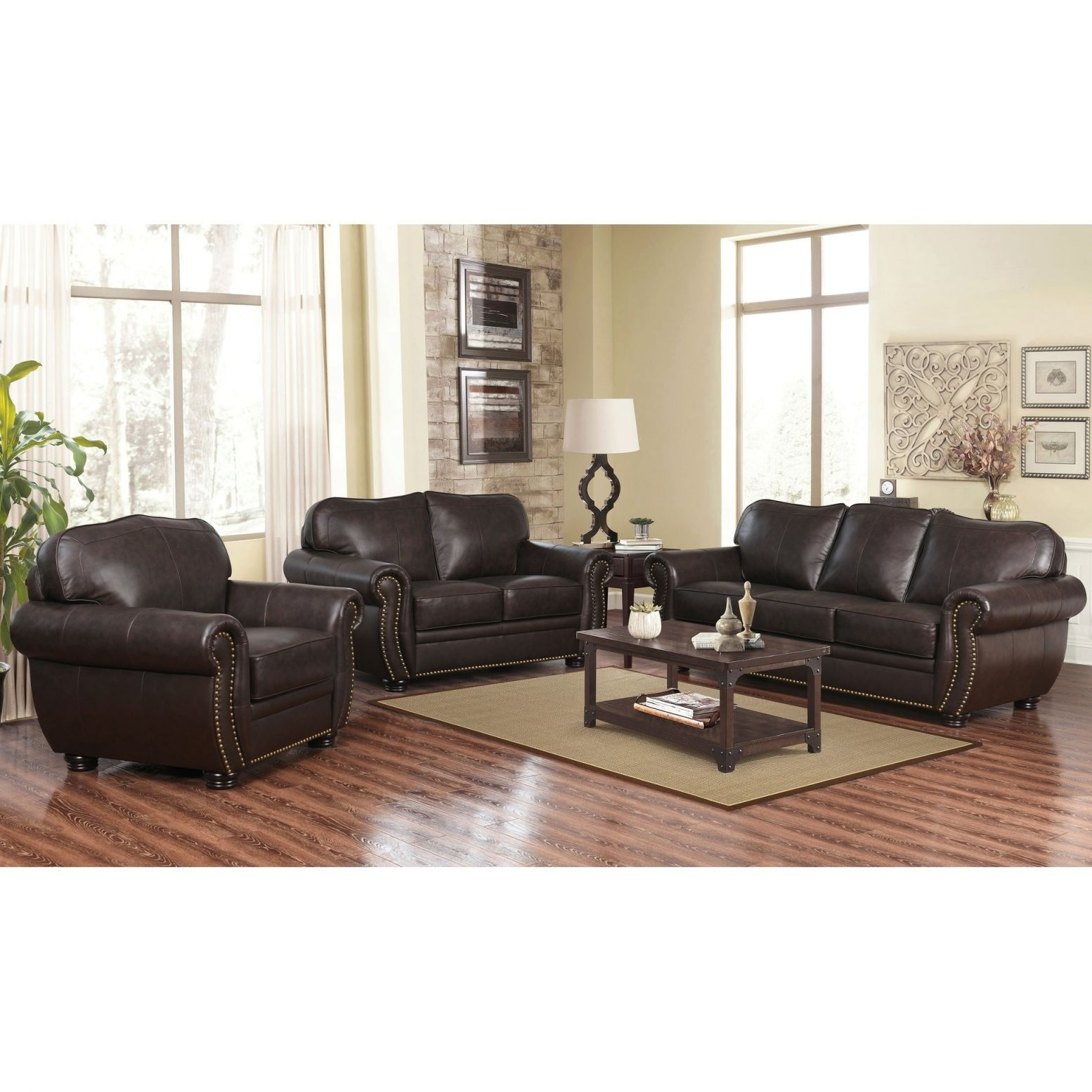 Abbyson Richfield Brown Top Grain Leather 3 Piece Living Room Sofa Set inside Living Room Sets