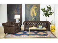 Abbyson Tuscan Top Grain Leather Chesterfield 2 Piece Living Room Set intended for Unique Living Room Sets