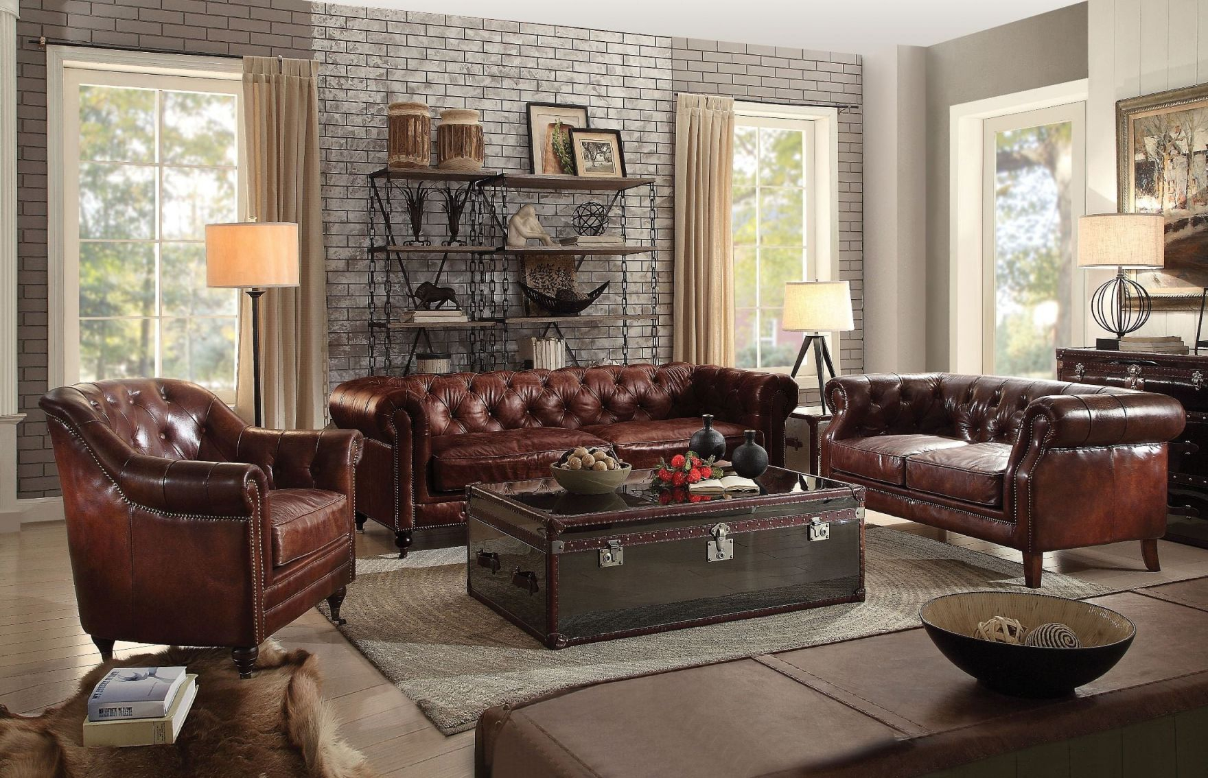 Aberdeen Vintage Dark Brown Leather Living Room Set throughout Awesome Leather Living Room Sets
