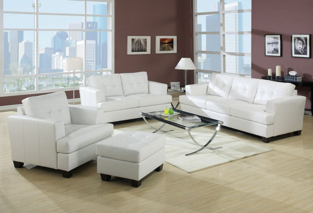 Acme Diamond Bonded Leather Living Room Set In White inside Leather Living Room Sets