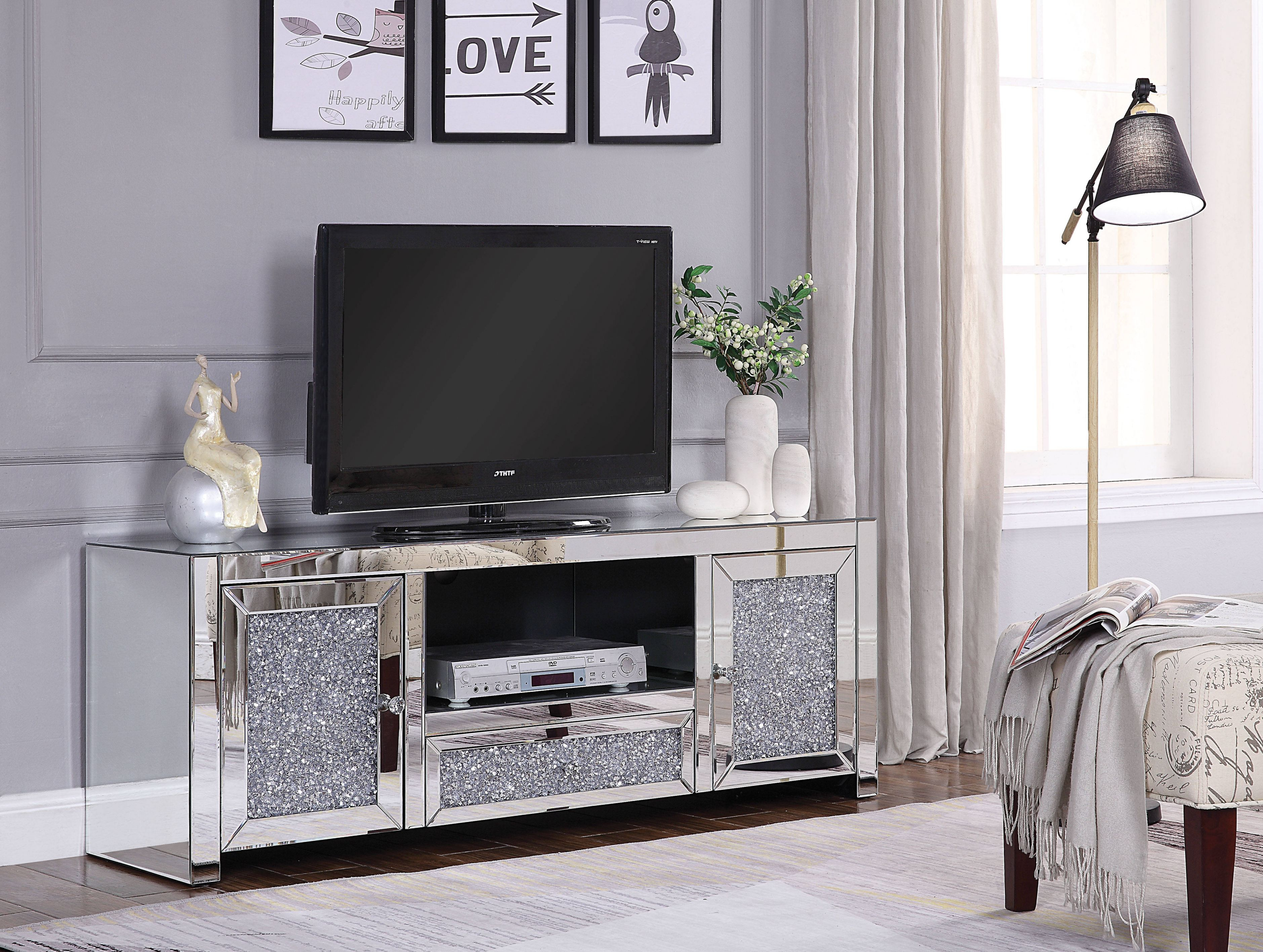 Acme Furniture Noralie Clear Tv Stand with New Furniture Tv Stands
