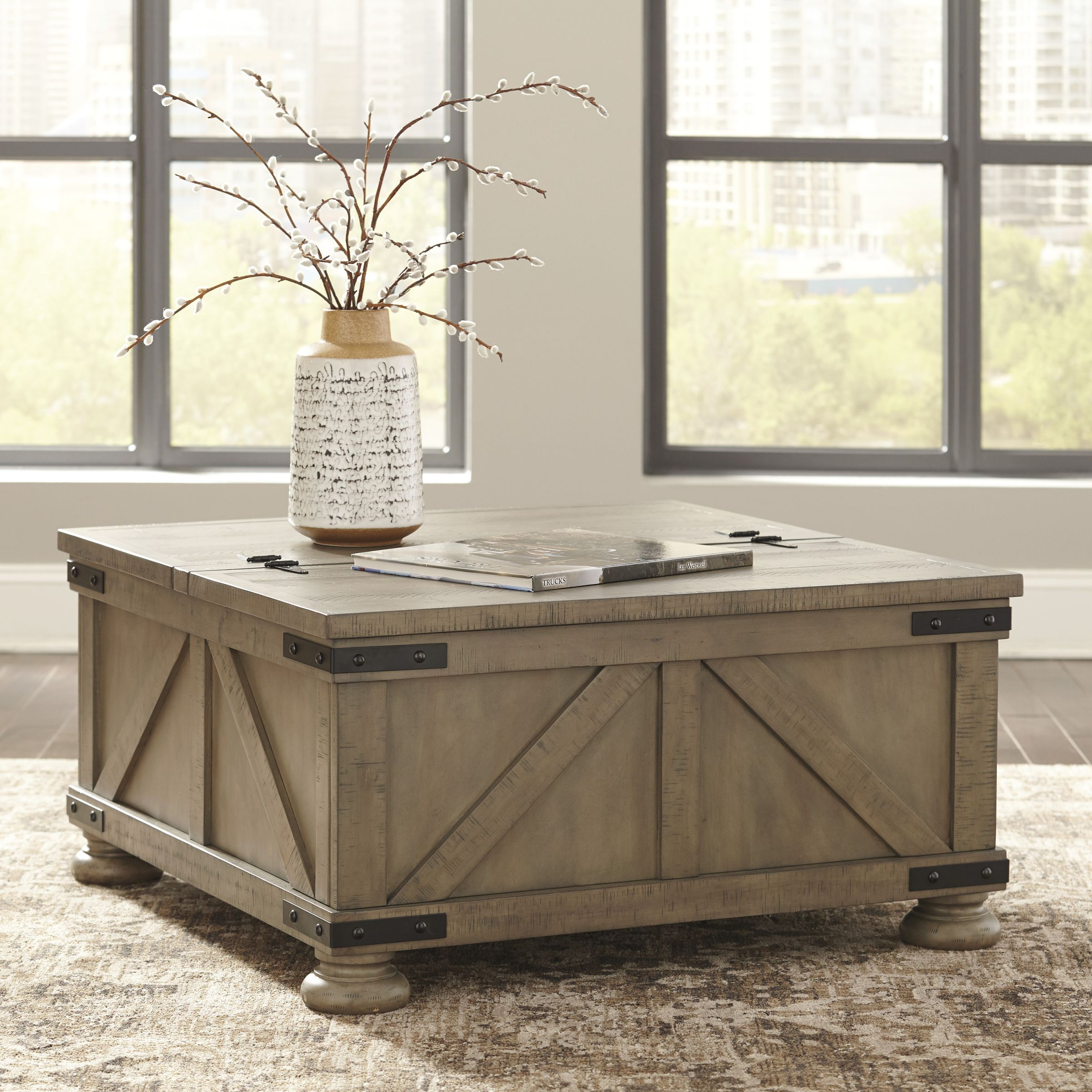 Aldwin Cocktail Table With Storage-Gray inside Square Coffee Table With Storage