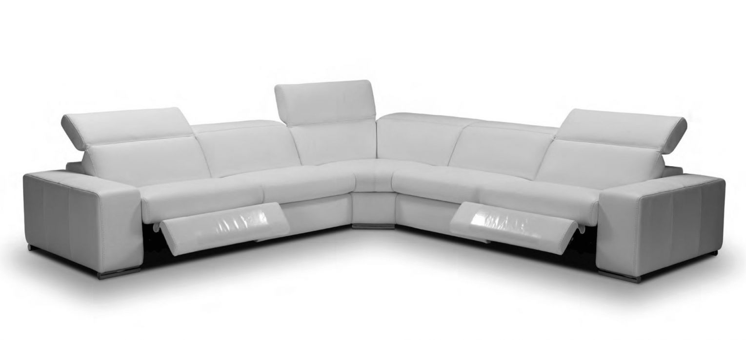 Ambasciatore Italian Double Reclining Leather Light Gray Modern Sectionals regarding Leather Sectional Modern