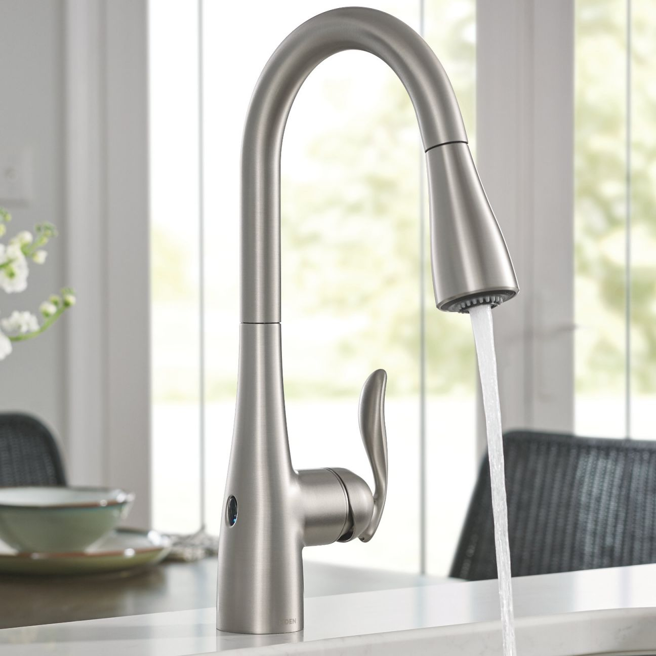 Arbor Pull Down Touchless Single Handle Kitchen Faucet With Motionsense™ And Power Clean™ Technologies within New Touchless Kitchen Faucet