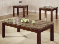 Arden 3 Piece Marble Look Top Coffee/end Table Set – Coffee Table with Living Room Table Sets
