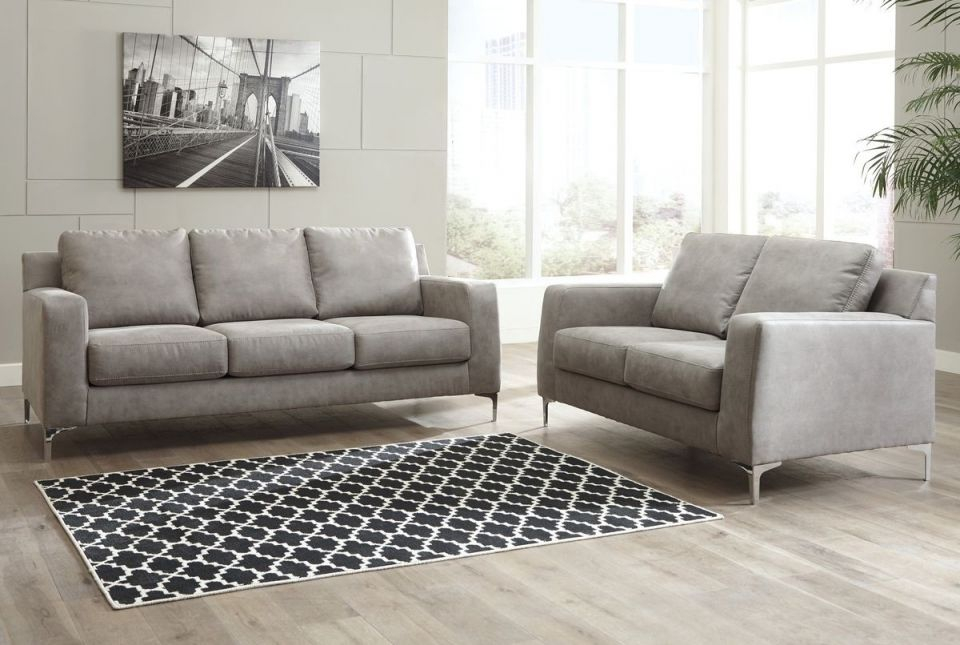 Ashley Furniture Ryler Living Room Set In Steel pertaining to Living Room Sets
