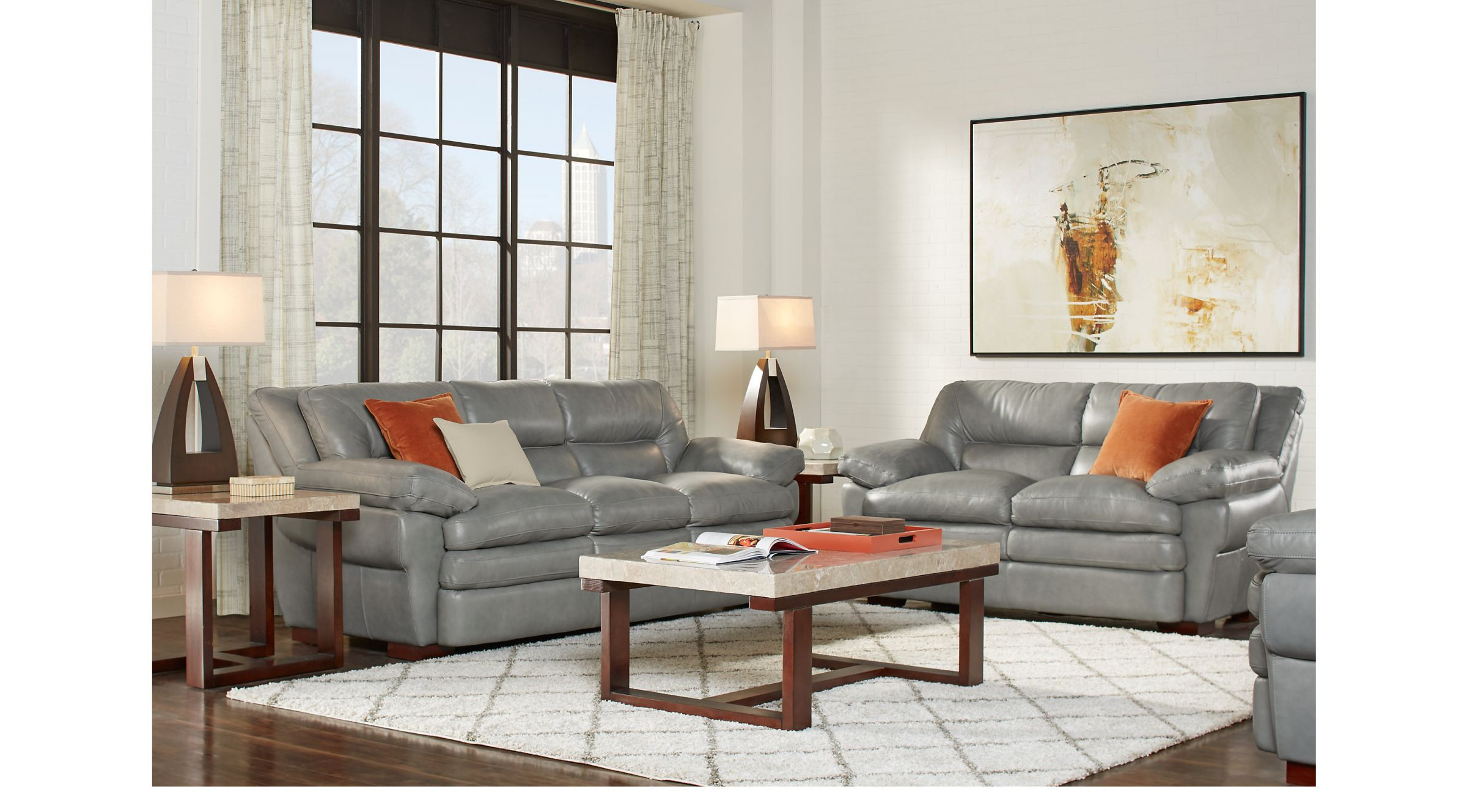 Aventino Gray Leather 5 Pc Living Room regarding Leather Living Room Sets
