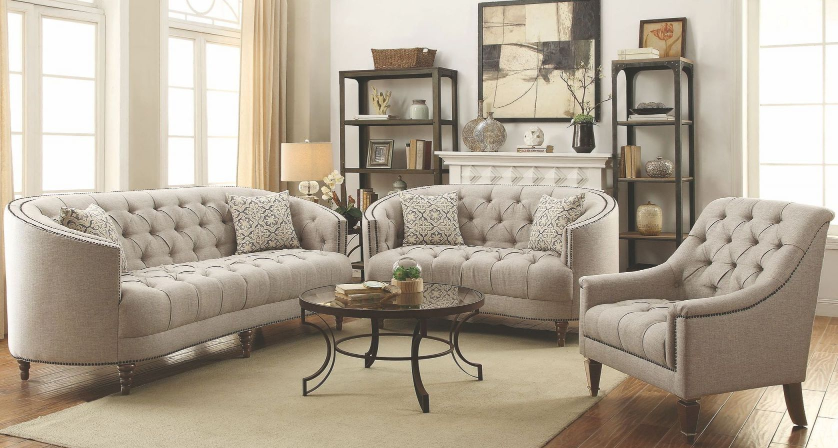 Avonlea Stone Grey Living Room Set with regard to Living Room Sets
