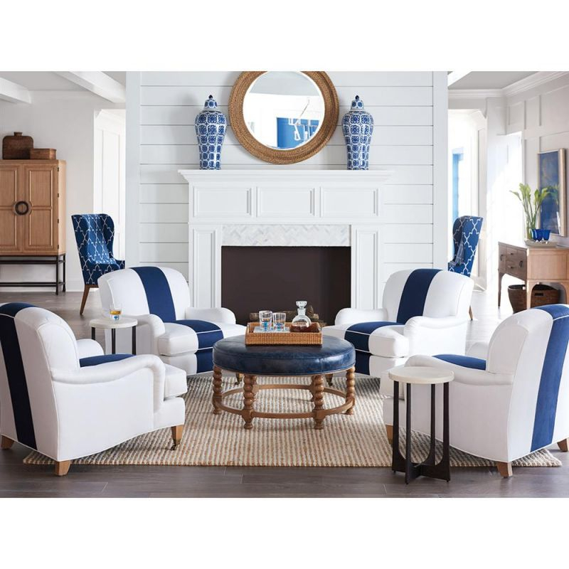 Barclay Butera Sydney Modern White & Blue Upholstered Wood Living with Fresh Modern Living Room Chairs