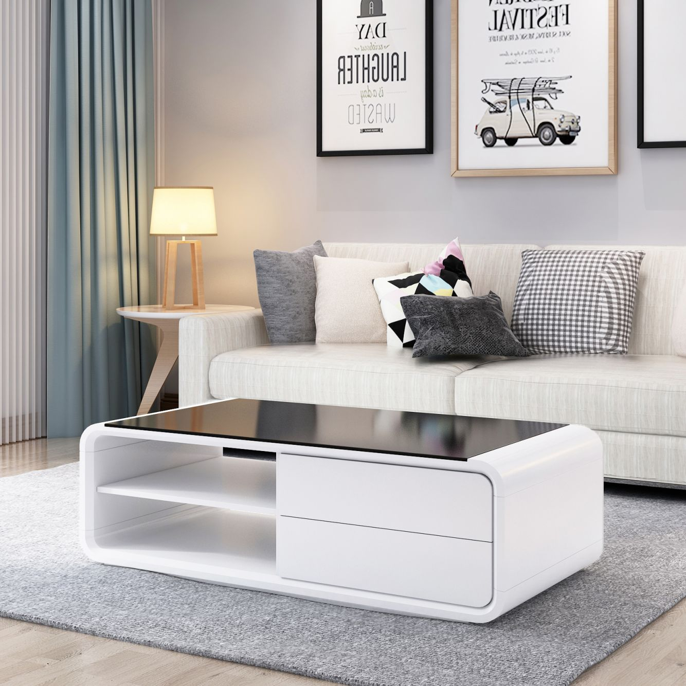 Black Coffee Table With Shelf Layers Modern Living Room Furniture throughout Fresh Modern Living Room Chairs
