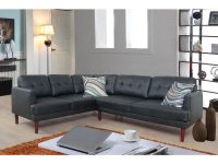 Black Faux Single Line Tufted Leather Sectional Sofa Set (2-Piece) for Leather Sectional Modern
