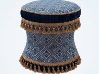 bohemian-vanity-stool-with-tassel-trim-and-blue-exotic-upholstery-print-pattern