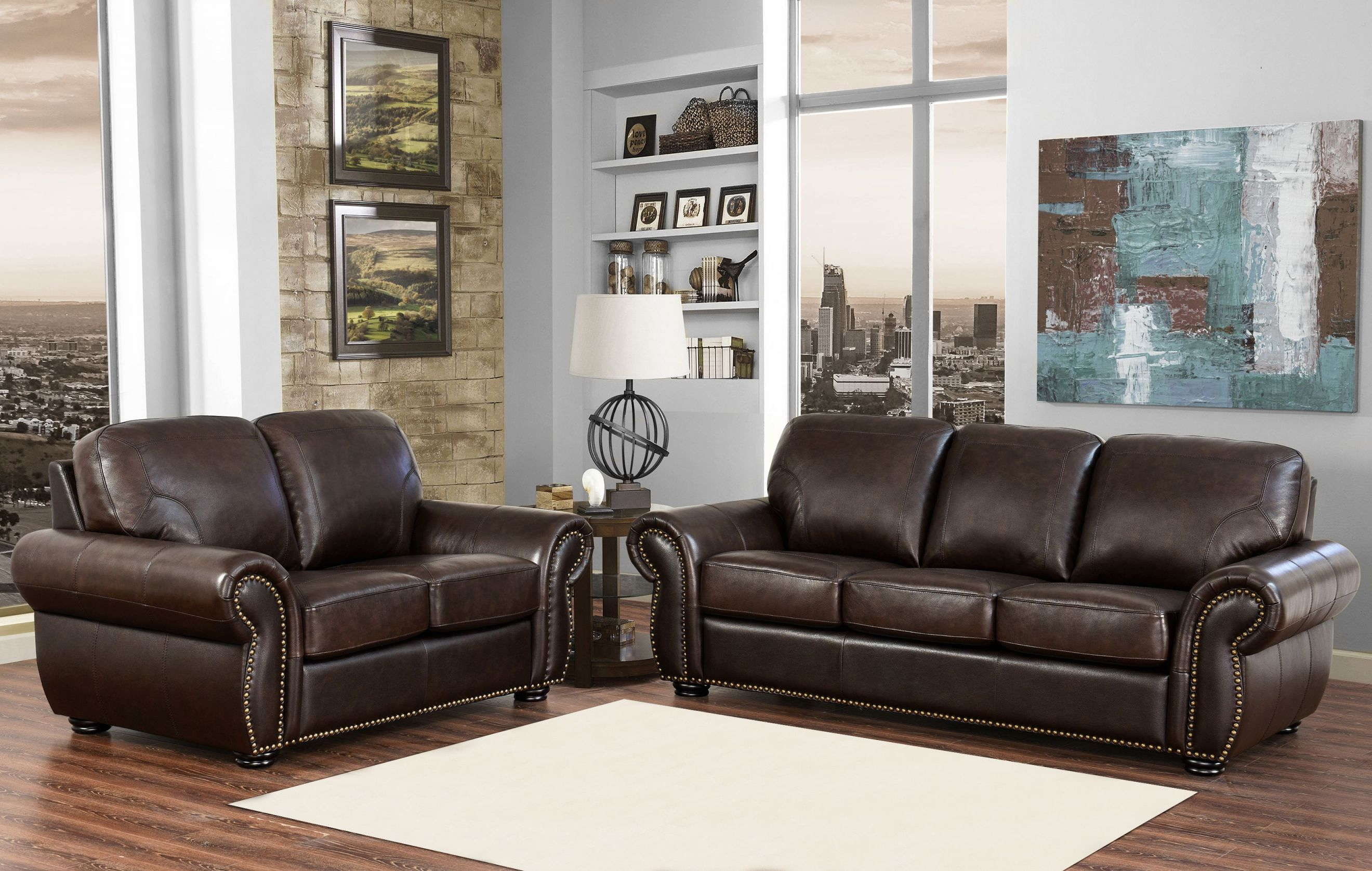 Breckenridge 2-Piece Top Grain Leather Living Room Set for Unique Living Room Sets