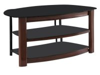 Brown Wood And Black Tempered Glass Modern Tv Stand in Furniture Tv Stands