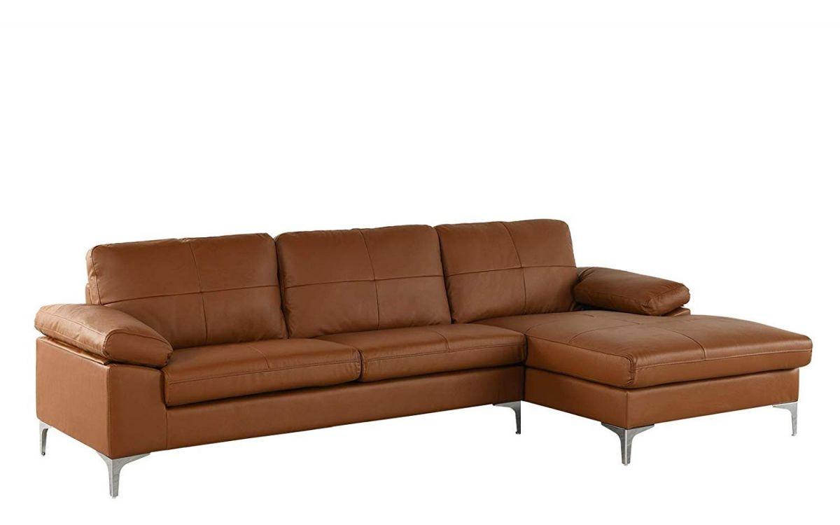 Camel Large Leather Sectional Sofa, L-Shape Couch With Chaise, 108.7 throughout Leather Sectional Sofa