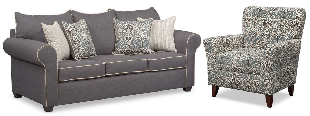 Carla Queen Sleeper Sofa And Accent Chair Set regarding Best of Living Room Furniture Accent Chairs