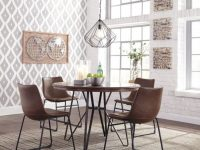 Centiar Round Dining Room Table & 4 Uph Side Chairs inside Elegant Dining Room Chairs