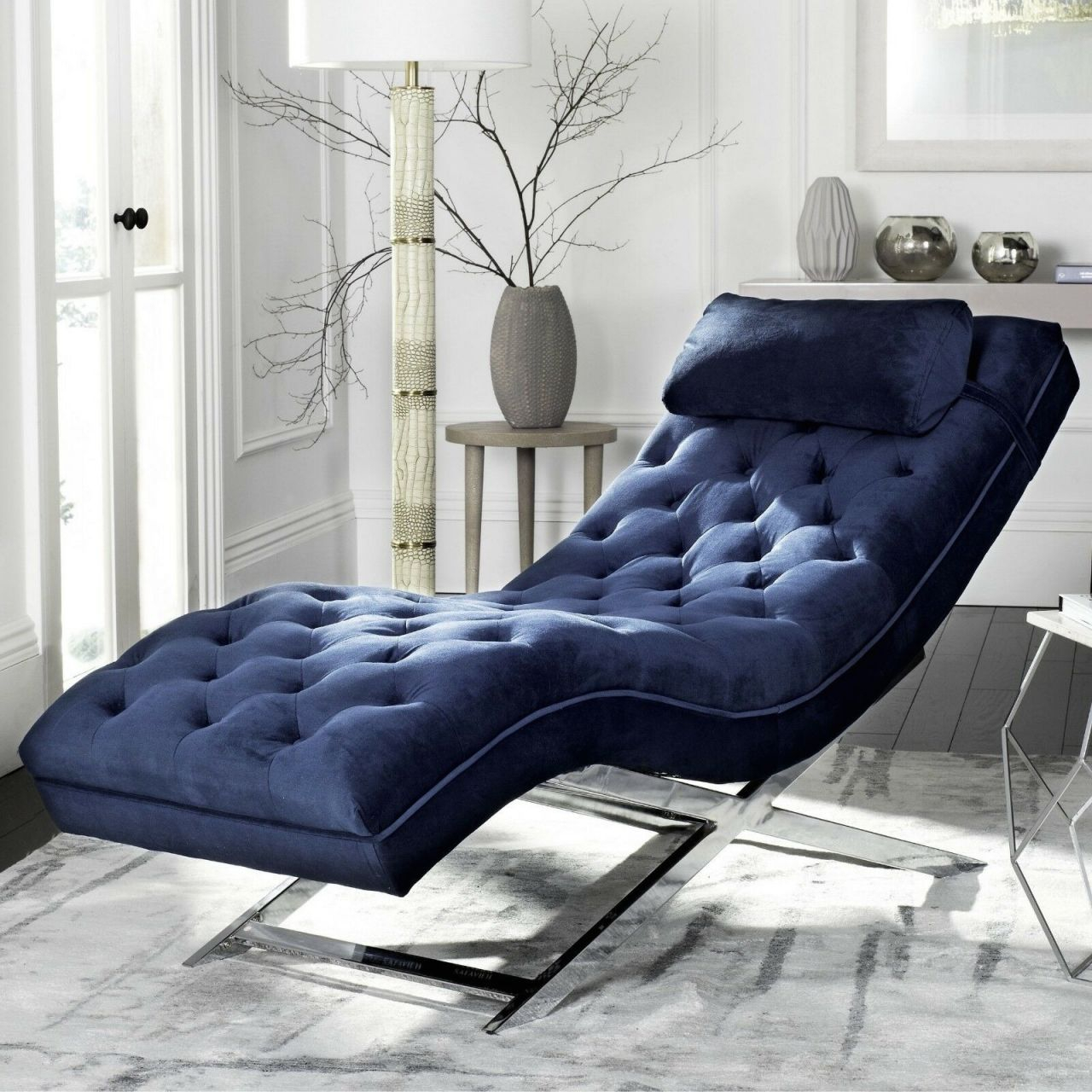 Chaise Lounge Chair Tufted Blue Velvet Chrome Base Modern Living Room Furniture in Unique Lounge Chair Living Room Furniture