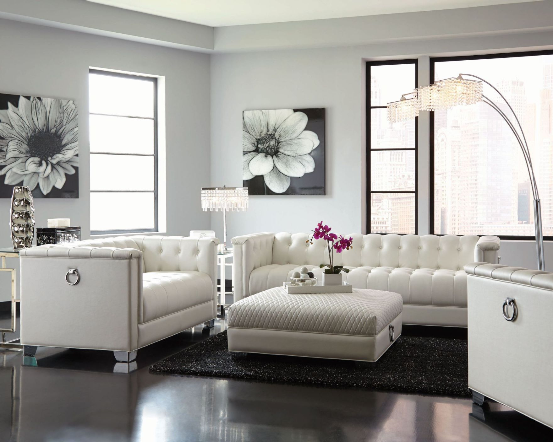 Chaviano Pearl White Living Room Set for Unique Living Room Sets