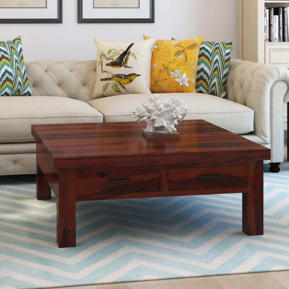 Cheverly Modern Style Solid Wood 4 Drawers Square Coffee Table in Square Coffee Table With Storage