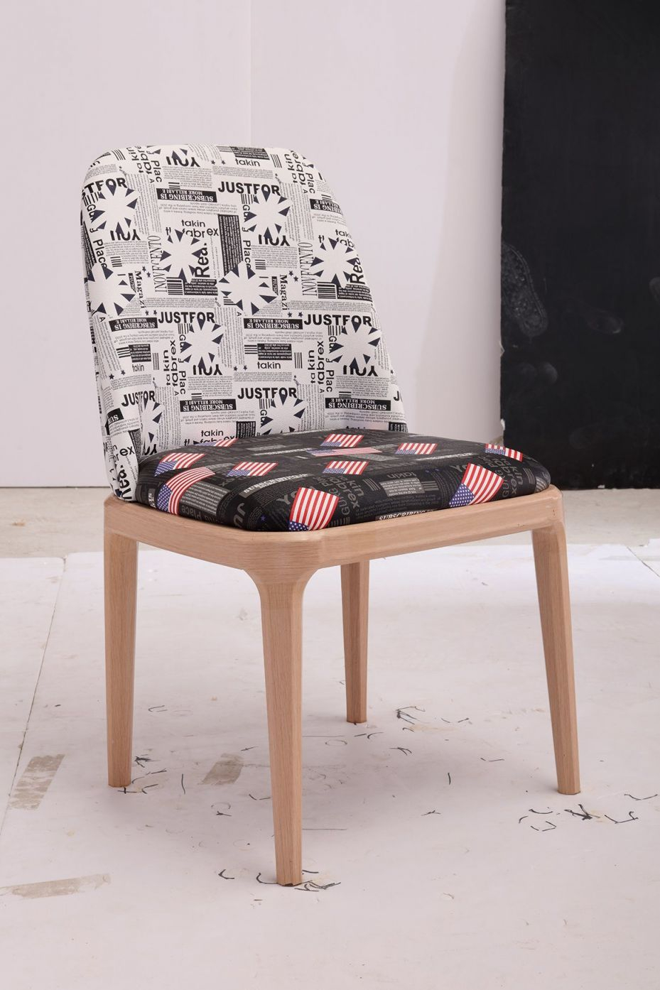 China French Style Newspaper Pattern Printed Fabric Dining Chairs intended for Modern Living Room Chairs