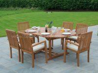 Classic Extendable Dining Set Six Seat Teak Garden Furniture throughout Teak Outdoor Furniture Set