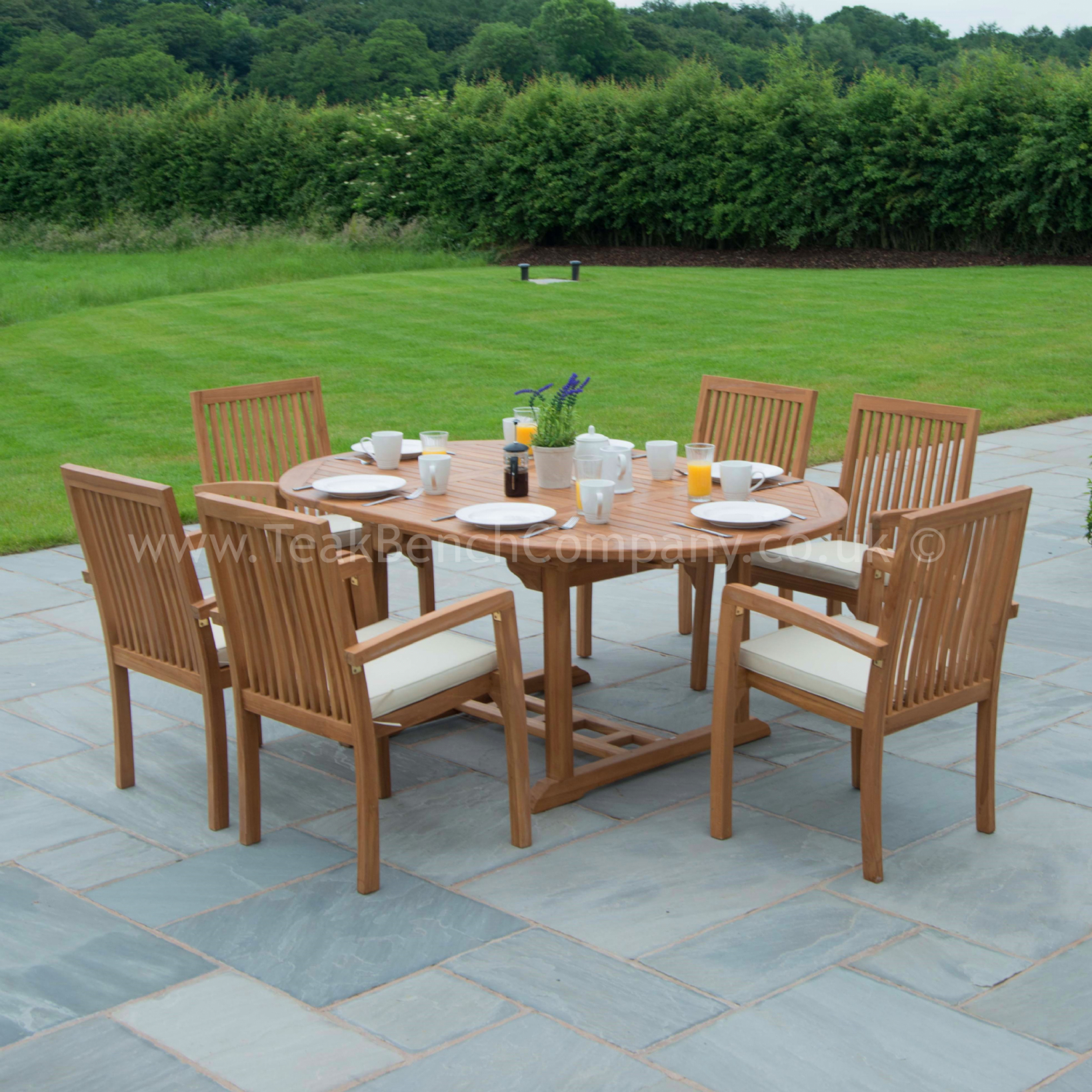 Classic Extendable Dining Set Six Seat Teak Garden Furniture throughout Teak Outdoor Furniture Set