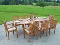 Classic Teak Garden Furniture Dining Set Eight Seat Oval Teak Table intended for Beautiful Teak Outdoor Furniture Set