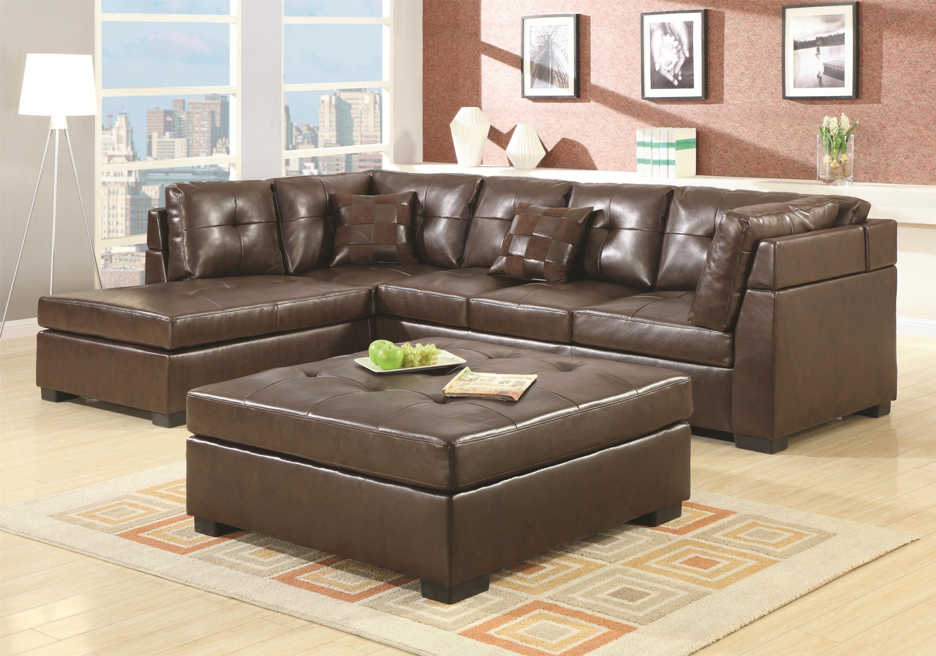 Coaster Darie 500686 Leather Sectional Sofa With Left-Side Chaise for Best of Leather Sectional Sofa